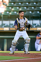Bradenton Marauders catcher Endy Rodriguez (5) during a game against the Palm Beach Cardinals on May 29, 2021 at LECOM Park in Bradenton, Florida.  (Mike Janes/Four Seam Images)
