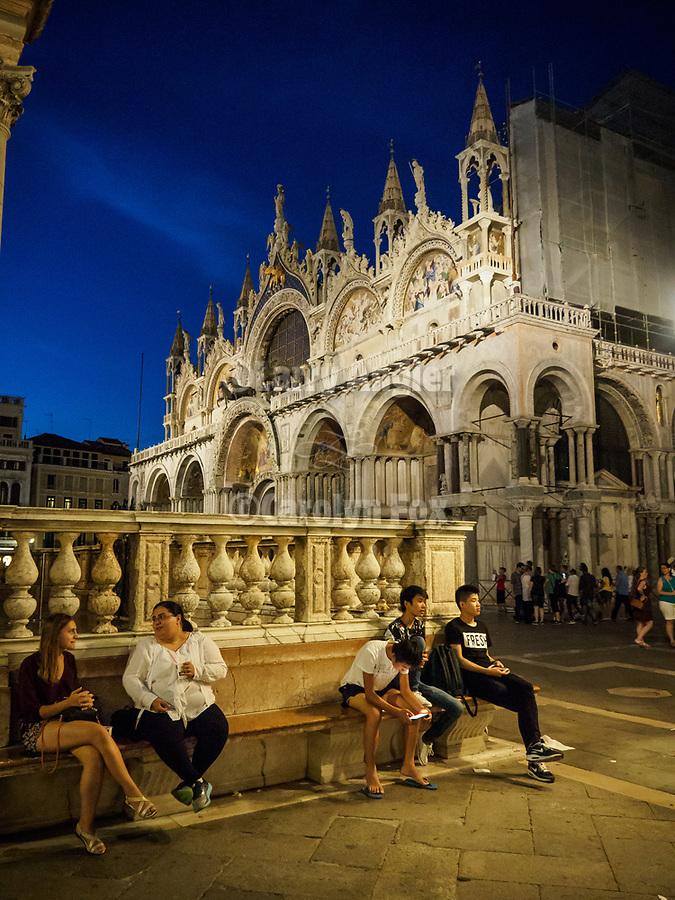 Evening, San Marko Plaza and Basilica, Venice, Italy