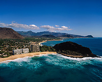 Makaha Beach and Lahilahi Point Aerial, Oahu, Hawaii, USA.