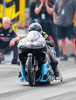 Oct 12, 2019; Concord, NC, USA; NHRA pro stock motorcycle rider Jianna Salinas during qualifying for the Carolina Nationals at zMax Dragway. Mandatory Credit: Mark J. Rebilas-USA TODAY Sports