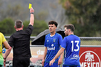 Sefa Mamea-Hind of Petone FC is seen receiving a yellow card during the Central League Football - Petone FC v Lower Hutt AFC at Petone Memorial Park, Lower Hutt, New Zealand on Friday 2 April 2021.<br /> Copyright photo: Masanori Udagawa /  www.photosport.nz