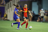 Orlando, Florida - Sunday, May 14, 2016: Western New York Flash defender Jaelene Hinkle (15) is challenged by Orlando Pride defender Kristen Edmonds (12) during a National Women's Soccer League match between Orlando Pride and New York Flash at Camping World Stadium.