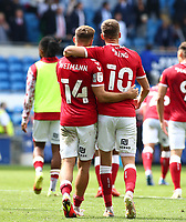 28th August 2021; Cardiff City Stadium, Cardiff, Wales;  EFL Championship football, Cardiff versus Bristol City; Andreas Weimann and Andy King of Bristol City celebrate the 1-2 win