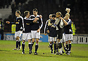 11/02/2008    Copyright Pic: James Stewart.File Name : sct_jspa18_motherwell_v_dundee.DUNDEE PLAYERS CELEBRATE AT THE END OF THE GAME.James Stewart Photo Agency 19 Carronlea Drive, Falkirk. FK2 8DN      Vat Reg No. 607 6932 25.Studio      : +44 (0)1324 611191 .Mobile      : +44 (0)7721 416997.E-mail  :  jim@jspa.co.uk.If you require further information then contact Jim Stewart on any of the numbers above........