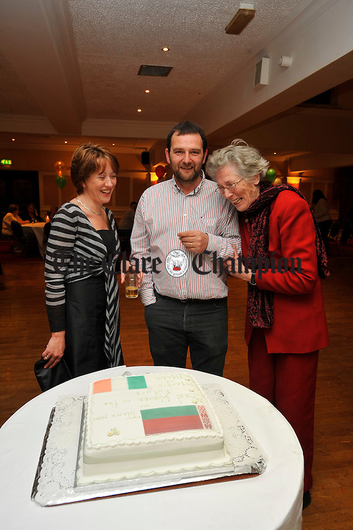 Teresa Flynn, Burren Chernobyl Project with Martin and Mags O Carroll, at an appreciation night to thank them for all their work done over the past fifteen years with Belavia Airlanes. Photograph by John Kelly.