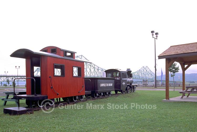 Campbellton, NB, New Brunswick, Canada -  Model Train Display at the Tourist Information Centre, and J.C. Van Horne Bridge over Restigouche River in background