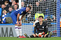 Chelsea captain, Cesar Azpilicueta and Chelsea goalkeeper, Kepa Arrizabalaga during Chelsea vs Everton, Premier League Football at Stamford Bridge on 8th March 2020