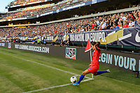 PHILADELPHIA, PA - AUGUST 29: Christen Press #23 of the United States takes a corner kick during a game between Portugal and USWNT at Lincoln Financial Field on August 29, 2019 in Philadelphia, PA.
