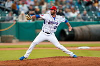 Tennessee Smokies relief pitcher Ryan Kellogg (35) delivers a pitch to the plate against the Montgomery Biscuits on May 8, 2021, at Smokies Stadium in Kodak, Tennessee. (Danny Parker/Four Seam Images)
