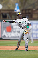 Dayton Dragons shortstop Hector Vargas (27) makes a throw to first base against the West Michigan Whitecaps on April 24, 2016 at Fifth Third Ballpark in Comstock, Michigan. Dayton defeated West Michigan 4-3. (Andrew Woolley/Four Seam Images)