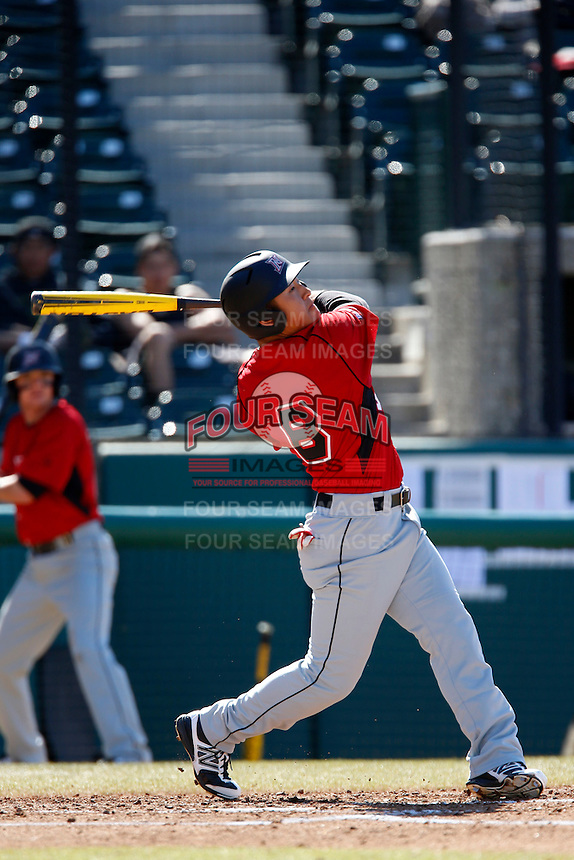 Chester Pak #8 of the Cal State Northridge Matadors bats against the USC Trojans at Dedeaux Field on February 24, 2013 in Los Angeles, California. (Larry Goren/Four Seam Images)