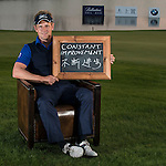 """Luke Donald was asked by Ballantine's at the BMW Masters to describe how he stays true to himself; his answer is shown. Ballantine's, who recently announced their new global marketing campaign, """"Stay True, Leave An Impression"""", is a sponsor at the BMW Masters, which takes place from the 24-27 October at Lake Malaren Golf Club in Shanghai.  Photo by Andy Jones / The Power of Sport Images for Ballantines."""