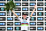 World Champion Annemiek Van Vleuten (NED) Mitchelton-Scott on the podium at the end of La Course By Le Tour de France 2020, running 96km from Nice to Nice, France. 29th August 2020.<br /> Picture: ASO/Alex Broadway | Cyclefile<br /> All photos usage must carry mandatory copyright credit (© Cyclefile | ASO/Alex Broadway)