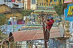 India, Tamil Nadu, Coonoor. Indian electrician working on wiring post in Coonoor.