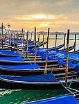 Sunrise on gondolas in San Marco, Venice, Italy