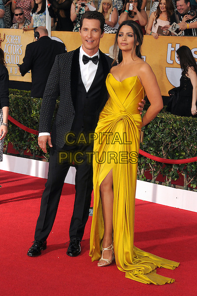 18 January 2014 - Los Angeles, California - Matthew McConaughey, Camila Alves. 20th Annual Screen Actors Guild Awards - Arrivals held at The Shrine Auditorium. Photo Credit: Byron Purvis/AdMedia<br /> CAP/ADM/BP<br /> ©Byron Purvis/AdMedia/Capital Pictures