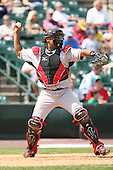August 11th 2008:  Catcher Ronny Paulino of the Indianapolis Indians, Class-AAA affiliate of the Pittsburgh Pirates, during a game at Frontier Field in Rochester, NY.  Photo by:  Mike Janes/Four Seam Images