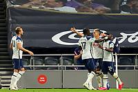 29th September 2020; Tottenham Hotspur Stadium, London, England; English Football League Cup, Carabao Cup, Tottenham Hotspur versus Chelsea; Erik Lamela of Tottenham Hotspur celebrates his goal for 1-1 with team mates in the 83rd minute