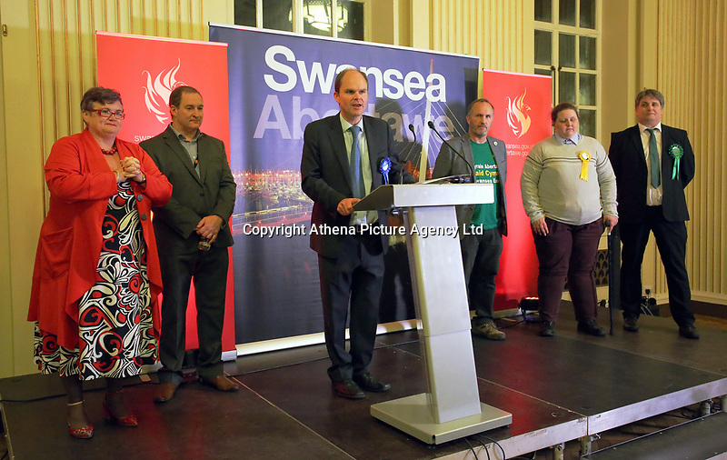 Pictured: Conservative candidate Dan Boucher (C). Friday 09 June 2017<br /> Re: Counting of ballots at Brangwyn Hall for the general election in Swansea, Wales, UK