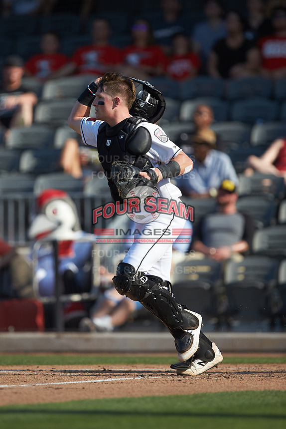 Fayetteville Woodpeckers catcher Michael Papierski (28) on defense against the Carolina Mudcats at SEGRA Stadium on May 18, 2019 in Fayetteville, North Carolina. The Mudcats defeated the Woodpeckers 6-4. (Brian Westerholt/Four Seam Images)