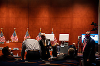 """Republican members confer before a United States House Judiciary committee hearing on """"Oversight of the Department of Justice: Political Interference and Threats to Prosecutorial Independence"""" on Capitol Hill in Washington DC on June 24th, 2020.<br /> Credit: Anna Moneymaker / Pool via CNP/AdMedia"""