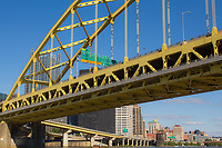 The Fort Pitt Bridge in Pittsburgh, Pennsylvania as seen from the Gateway Clipper.