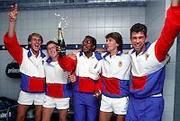 Daviscup, v.l.n.r.: Paul Haarhuis, Tom Nijssen, Captain Stan Franker, Mark Koevermans en Michiel Schapers