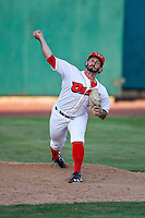 Orem Owlz starting pitcher Greg Belton (1) warms up in the bullpen before the game against the Grand Junction Rockies in Pioneer League action at Home of the Owlz on July 6, 2016 in Orem, Utah. The Rockies defeated the Owlz 5-4 in Game 2 of the double header.   (Stephen Smith/Four Seam Images)
