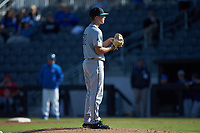 Coastal Carolina Chanticleers relief pitcher Josh Jarman (32) looks to his catcher for the sign against the Duke Blue Devils at Segra Stadium on November 2, 2019 in Fayetteville, North Carolina. (Brian Westerholt/Four Seam Images)