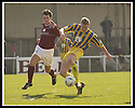 12/04/2003                   Copright Pic : James Stewart.File Name : stewart-arbroath v qots 01.SEAN O'CONNOR SHOOTS AT GOAL AS ROSS CURRIE MAKES A CHALLENGE....James Stewart Photo Agency, 19 Carronlea Drive, Falkirk. FK2 8DN      Vat Reg No. 607 6932 25.Office     : +44 (0)1324 570906     .Mobile  : +44 (0)7721 416997.Fax         :  +44 (0)1324 570906.E-mail  :  jim@jspa.co.uk.If you require further information then contact Jim Stewart on any of the numbers above.........