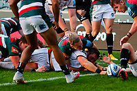 21st November 2020; Welford Road Stadium, Leicester, Midlands, England; Premiership Rugby, Leicester Tigers versus Gloucester Rugby; James Hanson of Gloucester Rugby touches down the ball for a Gloucester try (22-8)