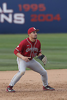 Nick Tanielu #30 of the Washington State Cougars in the field during a game against the Cal State Fullerton Titans at Goodwin Field on  February 15, 2014 in Fullerton, California. Washington State defeated Fullerton, 9-7. (Larry Goren/Four Seam Images)