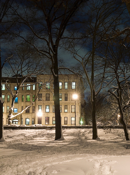 AVAILABLE FROM JEFF AS A FINE ART PRINT.  <br /> <br /> AVAILABLE FROM PLAINPICTURE FOR COMMERCIAL AND EDITORIAL LICENSING.  Please go to www.plainpicture.com and search for image # p5690241.<br /> <br /> Winter Scene - Prospect Park in the Snow at Night Looking Towards Residental Buildings on Prospect Park West, Brooklyn, New York City, New York State, USA