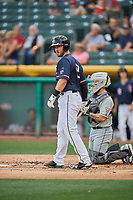 Joe Hudson (19) of the Salt Lake Bees bats against the El Paso Chihuahuas at Smith's Ballpark on July 5, 2018 in Salt Lake City, Utah. El Paso defeated Salt Lake 3-2. (Stephen Smith/Four Seam Images)