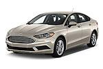 2018 Ford Fusion SE 4 Door Sedan angular front stock photos of front three quarter view