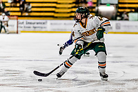 16 February 2019: University of Vermont Catamount Defender Anna Erickson, a Sophomore from Stillwater, MN, in action against the Holy Cross Crusaders at Gutterson Fieldhouse in Burlington, Vermont. The Lady Cats defeated the Crusaders 4-1 to sweep their 2-game weekend series. Mandatory Credit: Ed Wolfstein Photo *** RAW (NEF) Image File Available ***