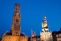 Belgium, Bruges, Belfry and statue of Jan Breydel and Pieter de Coninck Belfry tower, Market Square, Brugge Markt