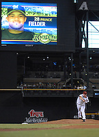 Aug 22, 2007; Phoenix, AZ, USA; Arizona Diamondbacks pitcher (17) Brandon Webb pitches in the first inning to first baseman (28) Prince Fielder (not pictured) at Chase Field. In the next pitch Fielder hit an RBI single which scored right fielder (18) Gabe Gross (not pictured). With the run scored it ended a 42 inning scoreless streak by Webb. Mandatory Credit: Mark J. Rebilas-US PRESSWIRE Copyright © 2007 Mark J. Rebilas