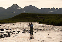 150620-JRE-7981E-0637 Joshua Quong, a teacher and quail hunting guide from Mississippi, battles an acrobatic Arctic Grayling on an interior Alaska stream.