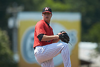 Kannapolis Intimidators starting pitcher Sam Long (28) in action against the Hickory Crawdads at Kannapolis Intimidators Stadium on June 2, 2019 in Kannapolis, North Carolina. The Intimidators defeated the Crawdads 4-3. (Brian Westerholt/Four Seam Images)