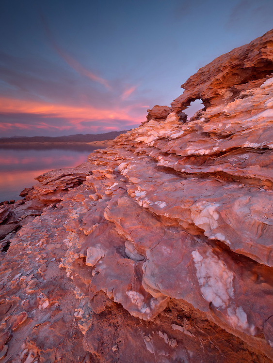 A natural arch in the Gypsum Ledges on the shore of Lake Mead in the Lake Mead National Recreation Area on the Arizona-Nevada border (Photo from Arizona)