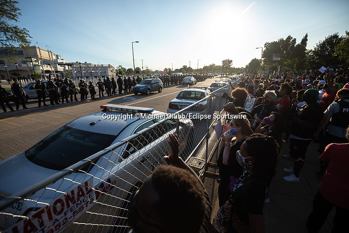 """September 5, 2020: Black Lives Matter protesters yell at police outside of Churchill Downs  the 146th Kentucky Derby. With the Kentucky Derby being the biggest sports event for the State of Kentucky, protestors have chosen the  event as a focal point for their calls for justice in the death of Breonna Taylor. Multiple groups from around the country have converged on Louisville to protest during the """"Run for the Roses"""" at Churchill Downs in Louisville. Michael Clubb/Eclipse Sportswire/CSM"""