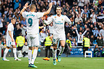 Real Madrid Gareth Bale and Karim Benzema celebrating a goal during La Liga match between Real Madrid and Celta de Vigo at Santiago Bernabeu Stadium in Madrid, Spain. May 12, 2018. (ALTERPHOTOS/Borja B.Hojas)