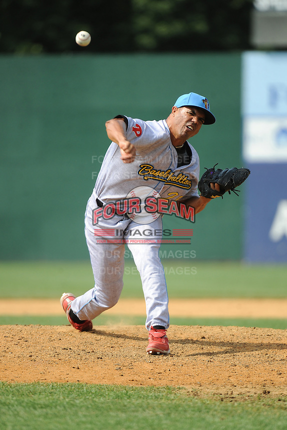 Reading Fightin Phils pitcher Miguel Alfredo Gonzalez (25) during game against the New Britain Rock Cats  at New Britain Stadium on July 13, 2014 in New Britain, CT. Reading defeated New Britain 6-4.  (Tomasso DeRosa/Four Seam Images)