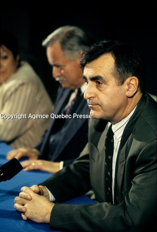 Montreal (Qc) CANADA - File Photo -  1995 -<br /> Jacques Parizeau, Leader Parti Quebecois and Quebec Premier (L)<br /> Lucien Bouchard, Leader Bloc Quebecois (R), at a press conference