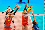 Ting Zhu of China (C) blocks Sol Piccolo of Argentina (R) during the FIVB Volleyball Nations League Hong Kong match between China and Argentina on May 29, 2018 in Hong Kong, Hong Kong. Photo by Marcio Rodrigo Machado / Power Sport Images