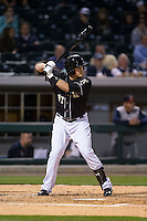 Jason Coats (17) of the Charlotte Knights at bat against the Toledo Mud Hens at BB&T BallPark on April 27, 2015 in Charlotte, North Carolina.  The Knights defeated the Mud Hens 7-6 in 10 innings.   (Brian Westerholt/Four Seam Images)