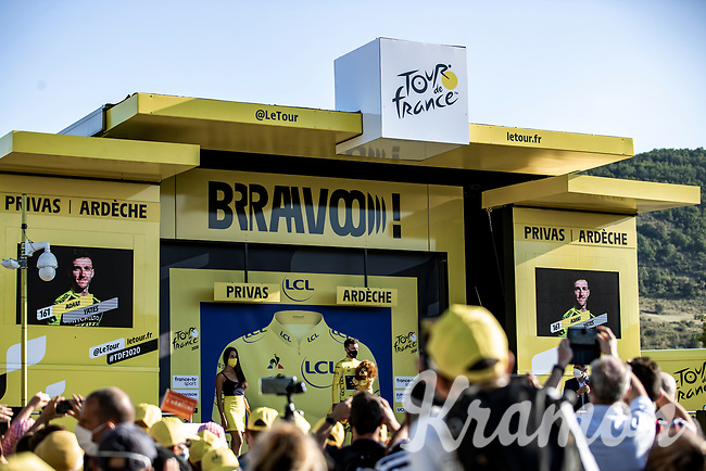 Adam Yates (GBR/Mitchelton-Scott) in the yellow jersey<br /> <br /> Stage 5 from Gap to Privas 183km<br /> 107th Tour de France 2020 (2.UWT)<br /> (the 'postponed edition' held in september)<br /> ©kramon