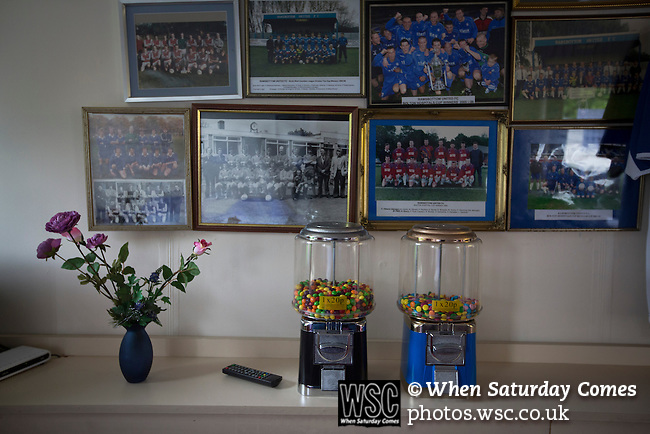 Ramsbottom United 1 Barwell 3, 03/10/2015. Riverside Stadium, Northern Premier League. Historic team photos on display in the refreshment hut at the Harry Williams Riverside Stadium, home to Ramsbottom United before they played Barwell in a Northern Premier League premier division match. This was the club's 13th league game of the season and they were still to record their first victory following a 3-1 defeat, watched by a crowd of 176. Rams bottom United were formed by Harry Williams, the current chairman, in 1966 and progressed from local amateur football  in Bury to the semi-professional leagues. Photo by Colin McPherson.