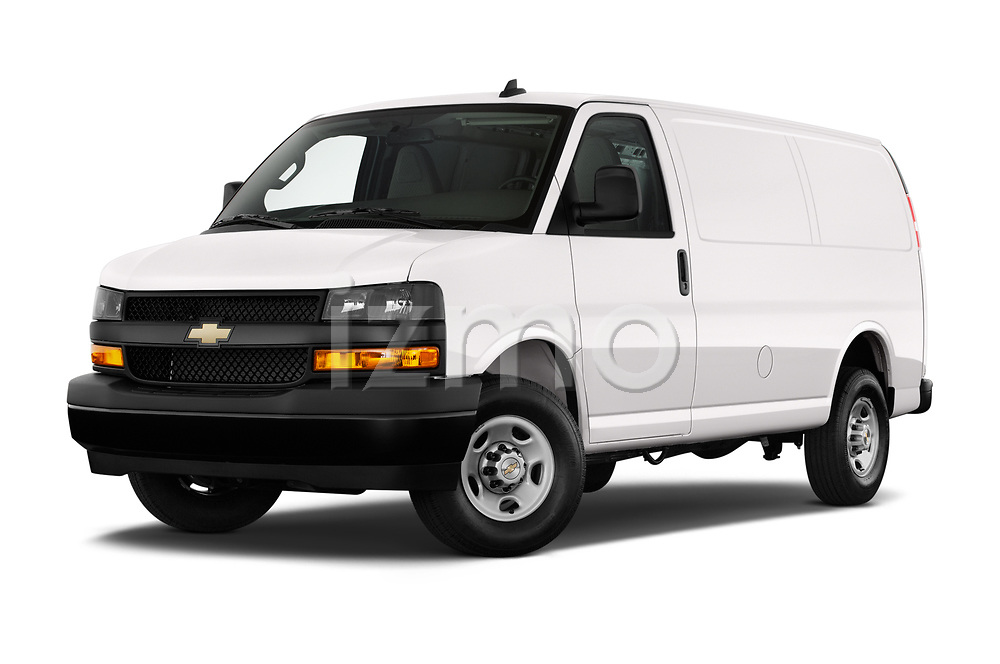Stock pictures of low aggressive front three quarter view of 2020 Chevrolet Express-Cargo WT 4 Door Cargo Van Low Aggressive
